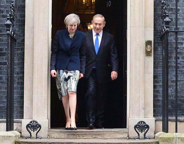 Israeli PM Benjamin Netanyahu visits British PM Theresa May at Number 10 Downing in London, UK