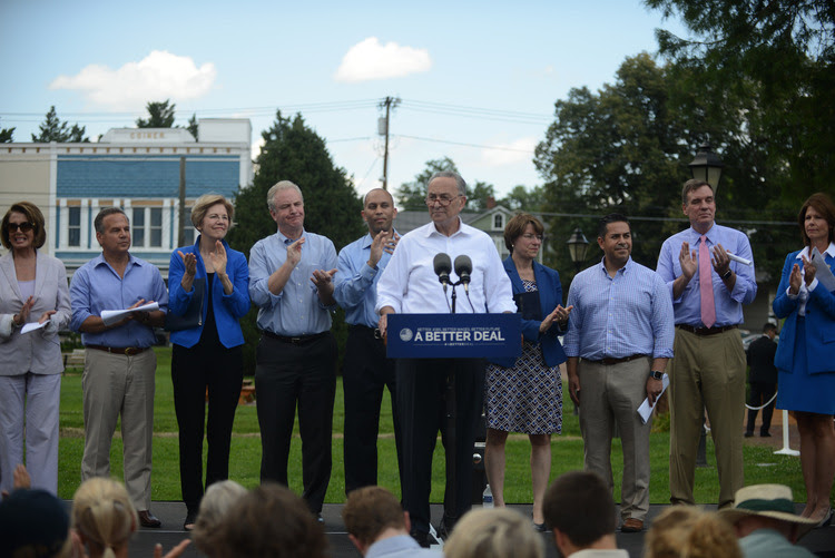 Democrats roll out their economic agenda to win next year's midterm elections in Berryville, VA. (Astrid Riecken/The Washington Post)