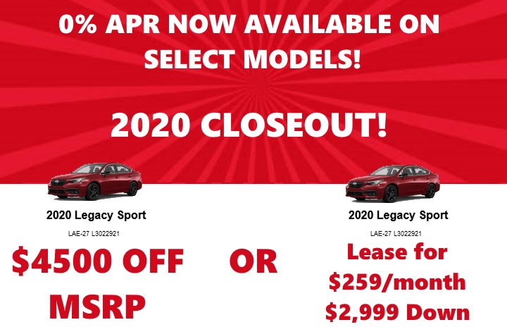 0% APR IS AVAILABLE ON SELECT MODELS! 2020 CLOSEOUT! 2020 Legacy Sport $4500 OFF MSRP or Lease for $259/month and $2,999 Down. Vin:L3022921