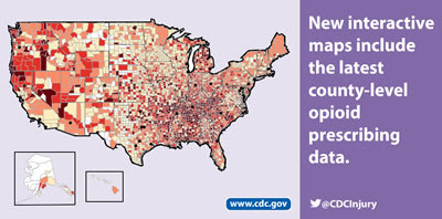 New interactive maps include the latest county-level opioid prescribing data. www.cdc.gov @CDCInjury