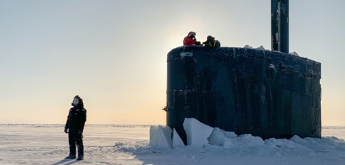 The USS Toledo arrives at Ice Camp Seadragon in the Arctic Ocean, March 4, 2020, to kick off Ice Exercise, a biennial exercise that offers the Navy the opportunity to assess its operational readiness in the Arctic and train with other services. - ALLOW IMAGES