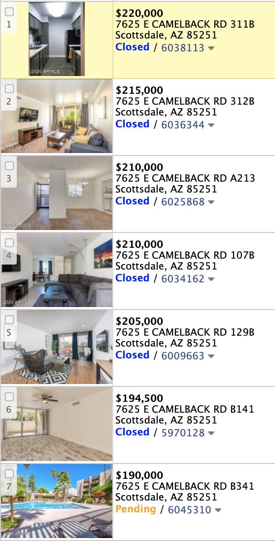 7625 W Camelback Rd Unit 341B, Scottsdale AZ 85251 comparable sales list