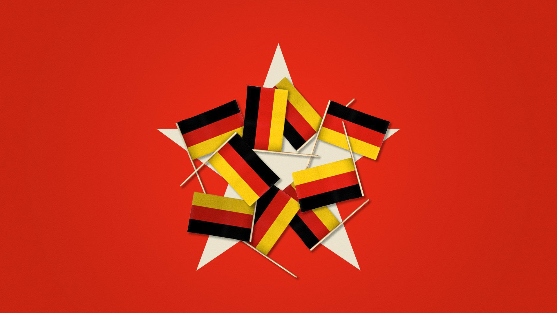 Illustration of German flags covering a large star