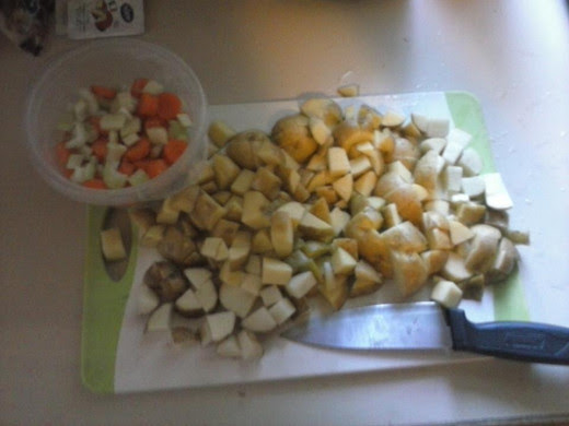 Chop the potatoes, leek, celery and carrots. Chop fresh onions if you use them.