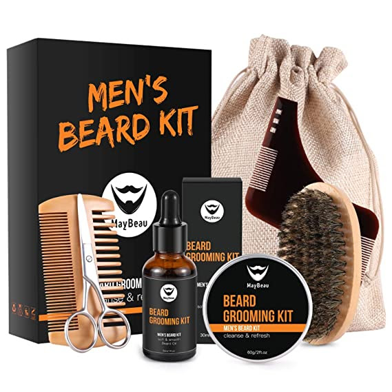 MayBeau Beard Kit for Men 8 in 1 Beard Grouth Grooming & Trimming with Unscented Leave-in Conditioner Oil,Beard shaping, Beard Balm Butter Wax, Brush and Comb Ultimate Trimmer Set for Men