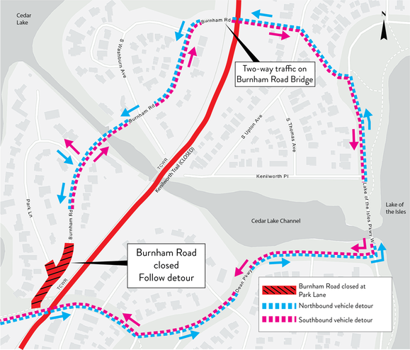Burnham Road Partial Closure at Cedar Lake Parkway in Minneapolis Detour Map