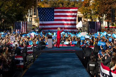 Hillary Clinton campaigned at the University of Pittsburgh as part of a four-state trip on Monday.