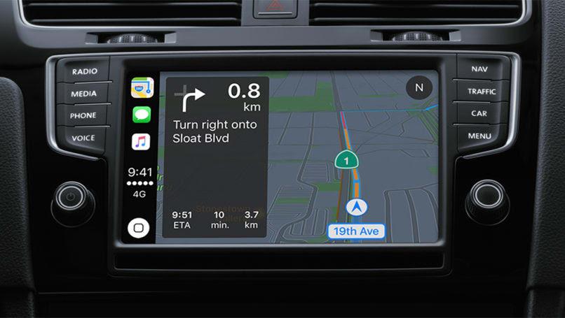Apple CarPlay map screen.