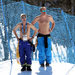 Workers at the Rosa Khutor Extreme Park catching some sun on Thursday.
