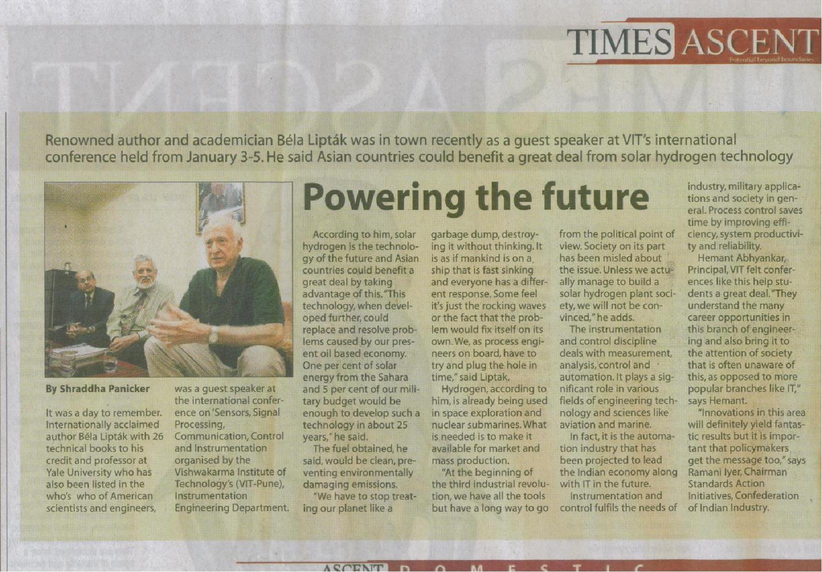 Cikk az India Times fedőlapján