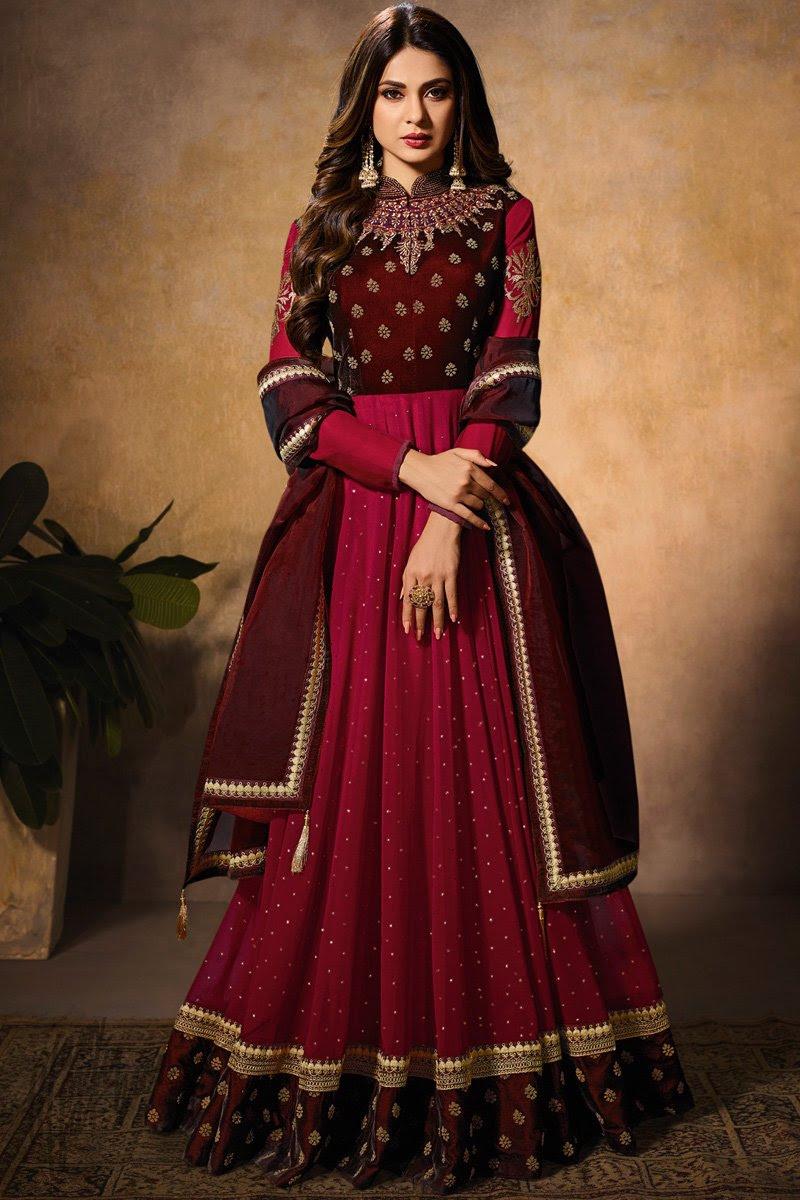 Maroon and Wine Dual Tone Velvet Anarkali Gown