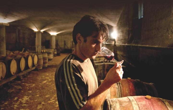 Stephane Aviron, producer of Beaujolais Villages Burgundy 2016 in the wine cellar.