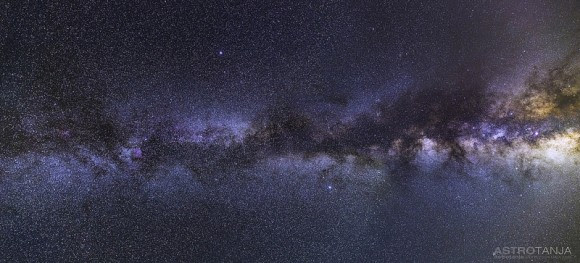 A mosaic of two wide field images taken from the Nevada desert, with the view stretching from Cepheus to the Milky Way core in Sagittarius. Credit and copyright: Tanja Sund.