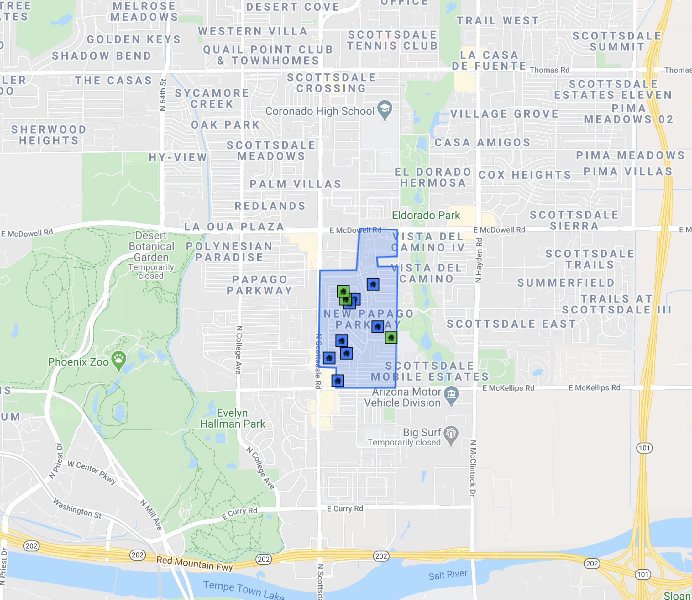 7325 E Papago Dr Scottsdale, AZ 85257 comps map
