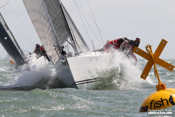 J/109s sailing J/Cup off Cowes, Isle of Wight, England
