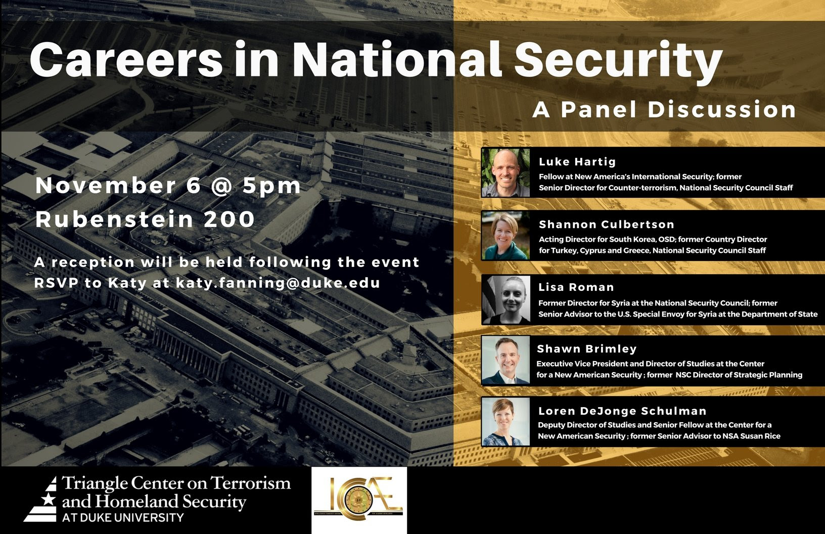 Careers in National Security: A Panel Discussion @ Rubenstein 200 | Durham | North Carolina | United States