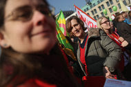 An equal pay march in Germany in 2015. A study of Australian women found that men got a raise 20 percent of the time they asked, compared with 16 percent for women.