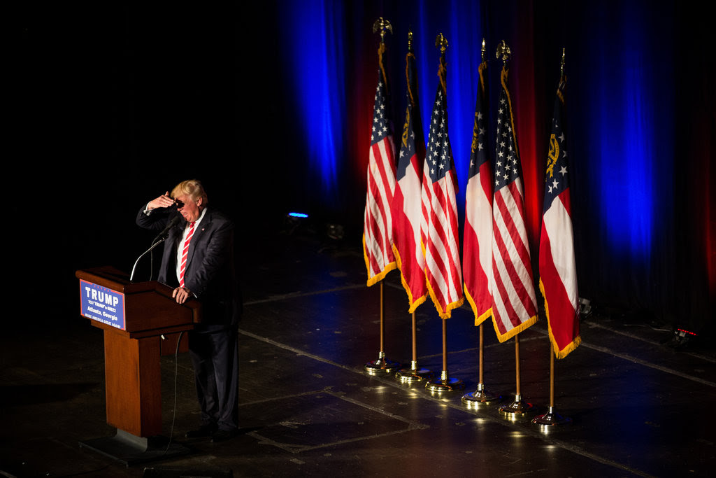 Donald J. Trump spoke at a campaign rally at the Fox Theater in Atlanta on Wednesday.