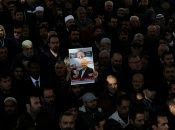 People attend a symbolic funeral prayer for Saudi journalist Jamal Khashoggi at the courtyard of Fatih mosque in Istanbul, Turkey Nov. 16, 2018.