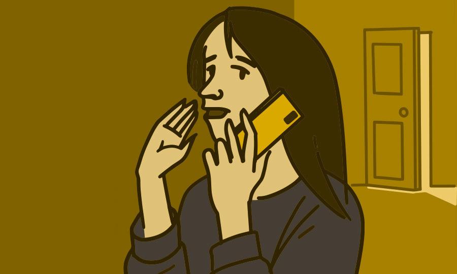 Ilustración de una mujer que habla por teléfono en privado