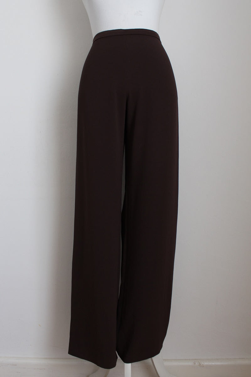 MAX MARA DESIGNER BROWN WIDE LEG SLACKS - SIZE 10