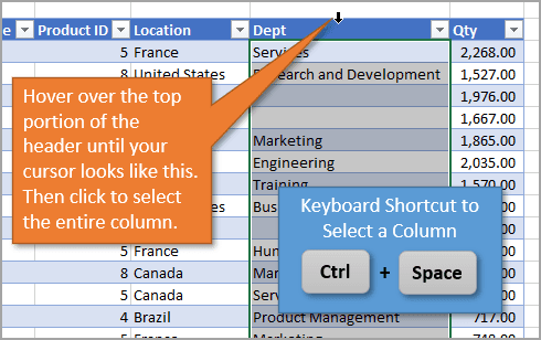 Shortcut to Select a Column in Excel Tables