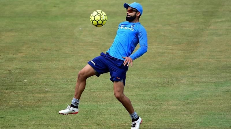 Virat Kohli showing some football skills before the cricket match.