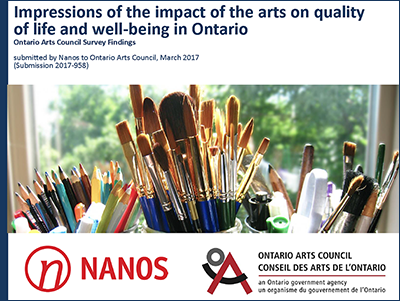 Cover of Impressions of the Impact of the Arts on Quality of Life and Well-Being in Ontario