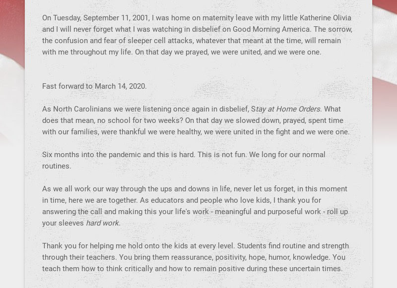 On Tuesday, September 11, 2001, I was home on maternity leave with my little Katherine Olivia and...