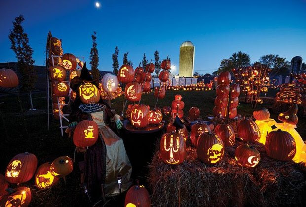 Jack-o-lanterns light the night at the Wanger Arboretum Brite Nights drive-thru