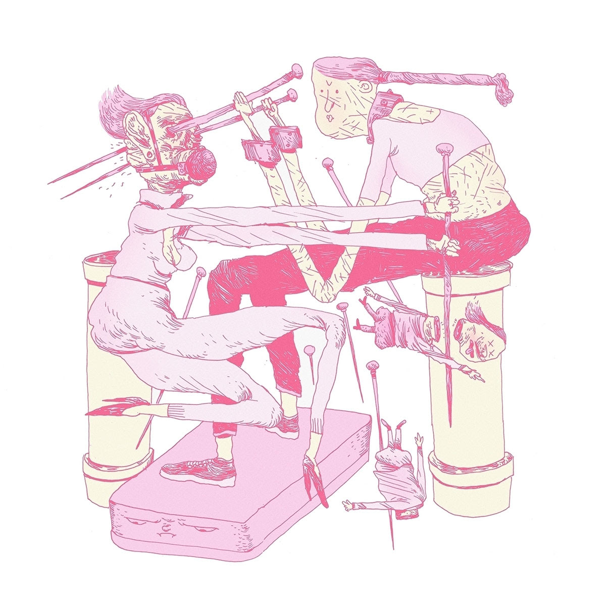 illustration of people fighting with knitting needles