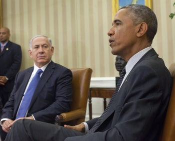 """Prime Minister Benjamin Netanyahu and then-U.S. President Barack Obama in 2014. Jacques Kupfer has referred to Obama as """"Hussein"""" and anti-Netanyahu protesters as """"useful idiots."""""""