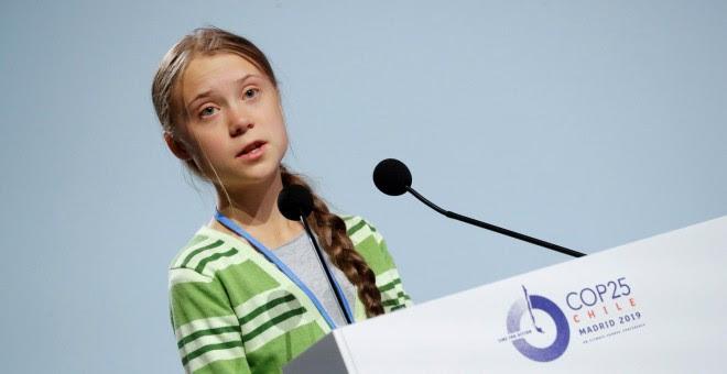 Greta Thunberg en su discurso en la Cumbre del Clima./ REUTERS