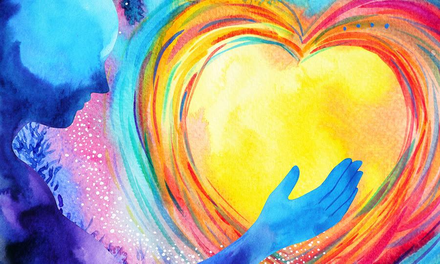 Imagen abstracta de una persona que sostiene un corazón