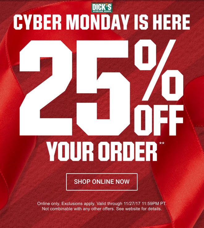 CYBER MONDAY STARTS NOW WITH 25% OFF YOUR ORDER