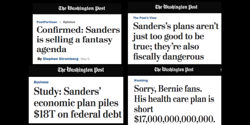 Washington Post's four anti-Sanders stories based on one Urban Institute study