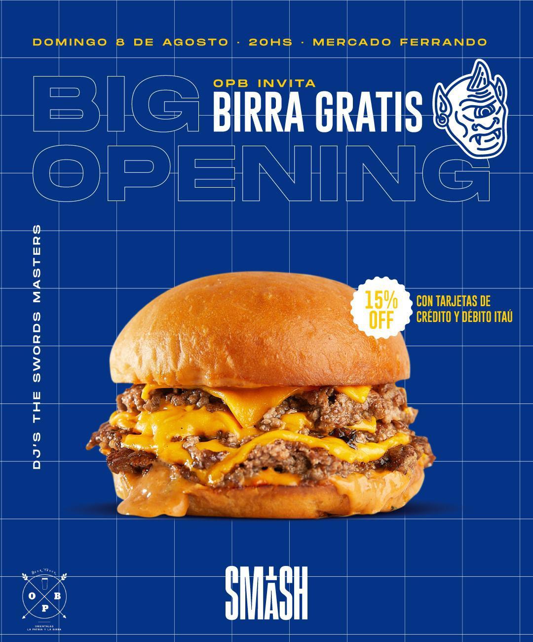 Domingo 8/8 - 20 hs - Big Opening de Smash en Mercado Ferrando