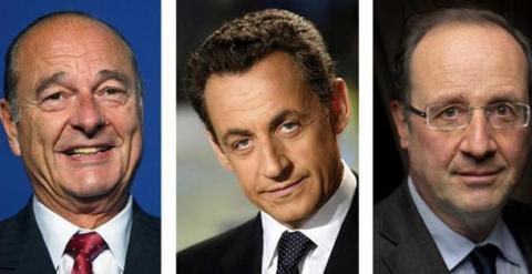 Jacques Chirac, Nicolas Sarkozy y François Hollande, los tres supuestos presidentes franceses espiados./ AFP