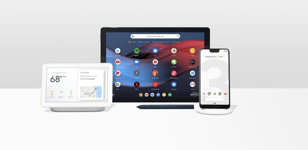 Home Hub, Pixel Slate e Pixel 3, novos produtos lançados pelo Google — Foto: Divulgação/Google