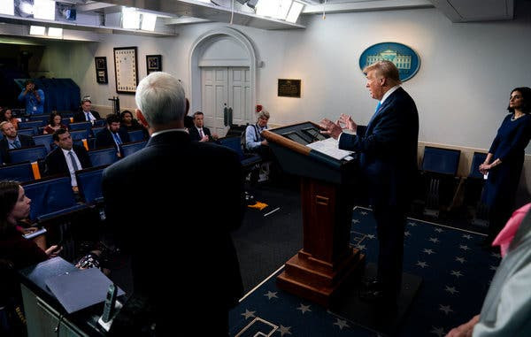 President Donald Trump and Vice President Mike Pence during the daily Coronavirus briefing in the White House briefing room on Tuesday.