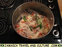 Mackerel Run Down - Adding vegetables