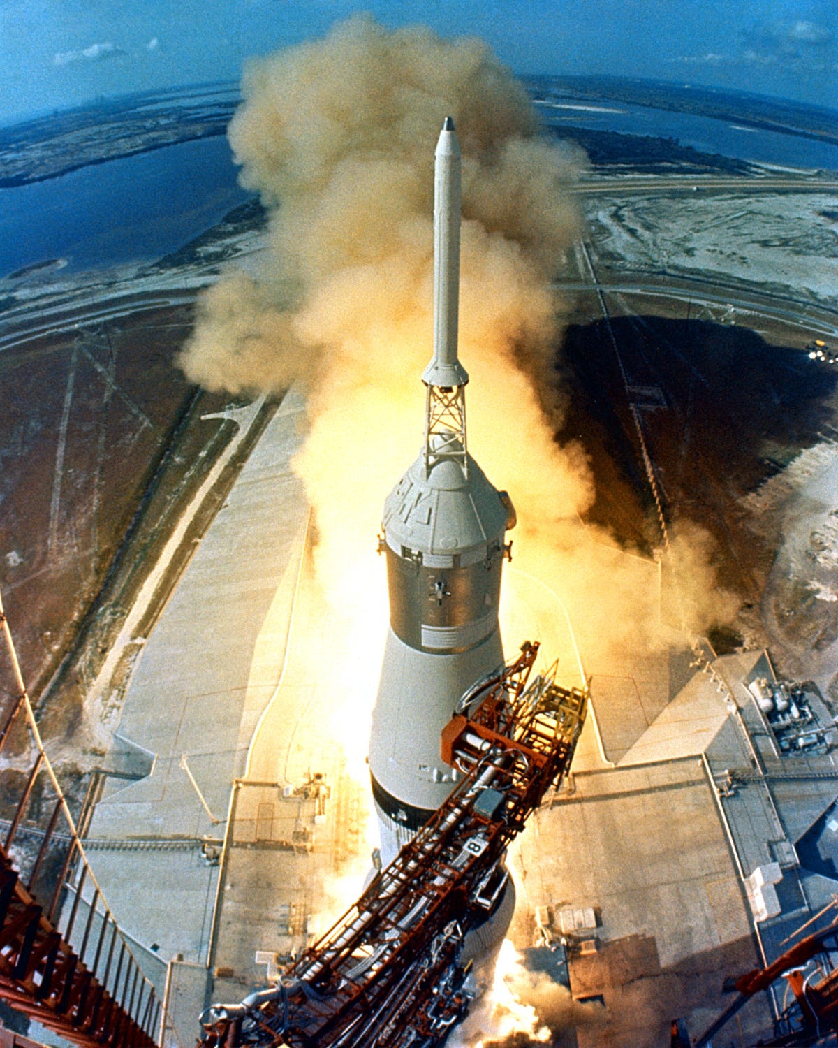 The Saturn V was designed to fly three astronauts at a time. At launch, it weighed 6.54 million pounds and towered 363 feet tall — about 60 feet taller than the Statue of Liberty.