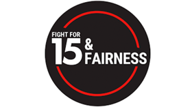 $15 & Fairness logo