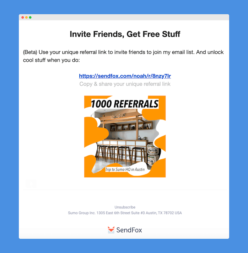 subscriber referral sendfox feature updates