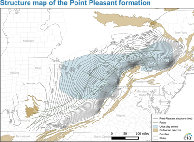 map of subsea elevation to the top of the Point Pleasant formation, as described in the article text