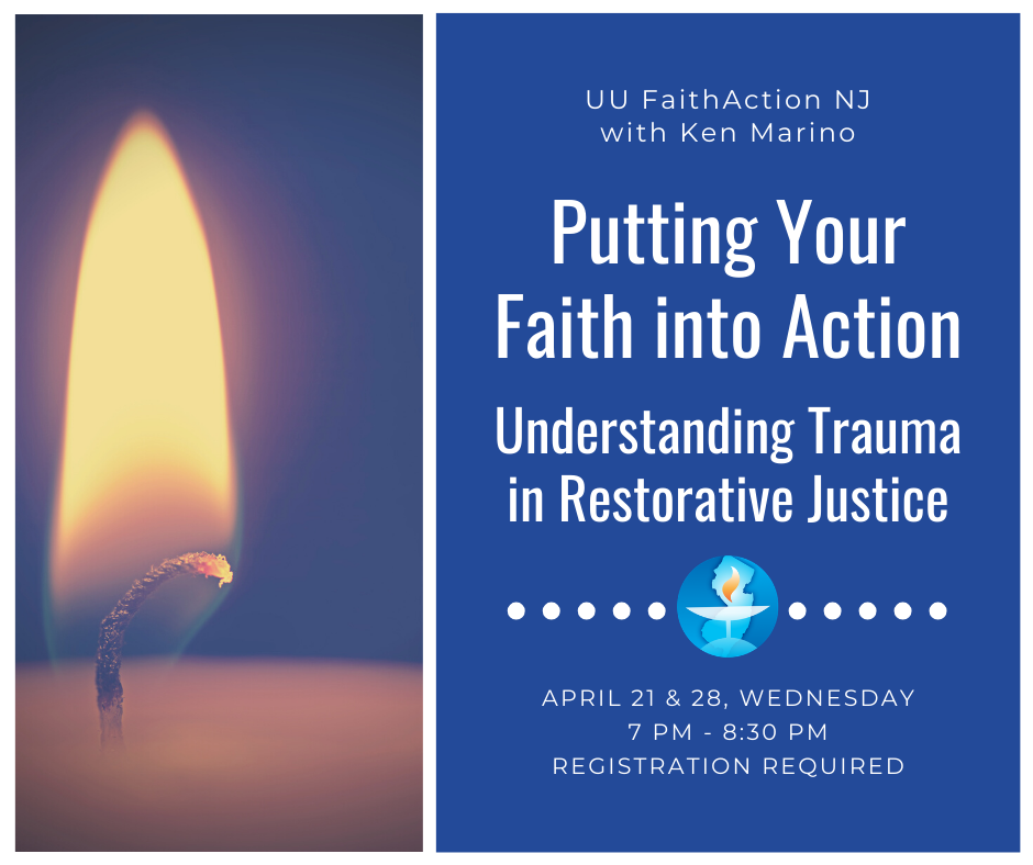 """""""Putting Your Faith into Action: Understanding Trauma in Restorative Justice"""" event flyer"""