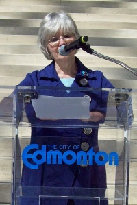 Alice Major, Edmonton's first poet laureate welcomes the PoeTrainers to the Edmonton Poetry Festival event at City Hall.