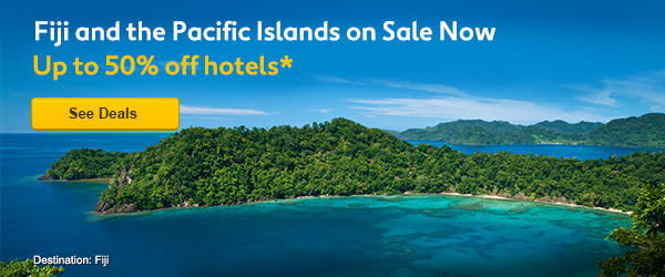 Save up to 50% off Fiji and the Pacific Islands hotels sale at Expedia.com.au