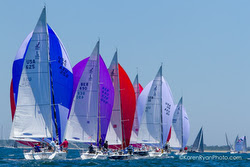 J/105s spinnaker parade at Block Island