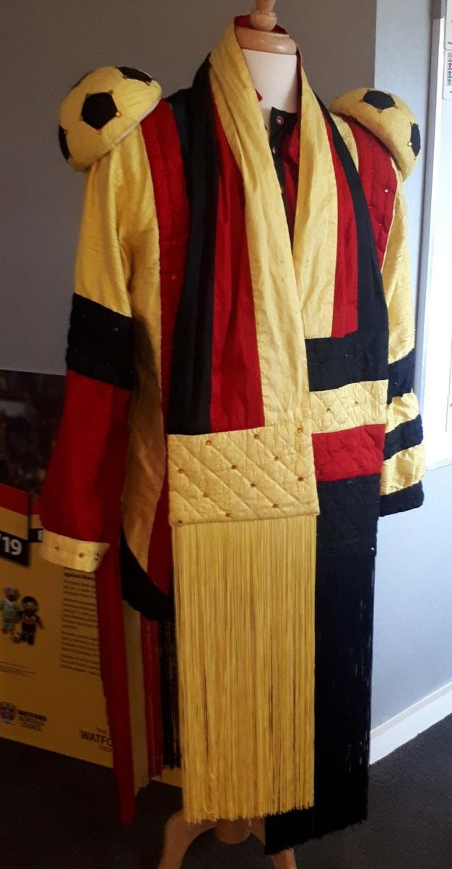 Sir Elton John's stage costume in the colours of Watford FC. Picture: Watford Museum